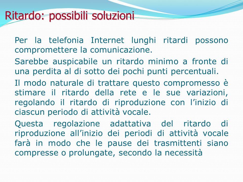 Ritardo: possibili soluzioni Per la telefonia Internet lunghi ritardi possono compromettere la comunicazione.