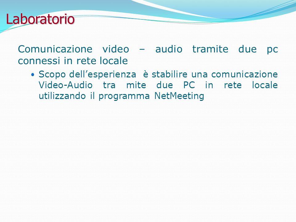 Laboratorio Comunicazione video – audio tramite due pc connessi in rete locale Scopo dellesperienza è stabilire una comunicazione Video-Audio tra mite due PC in rete locale utilizzando il programma NetMeeting