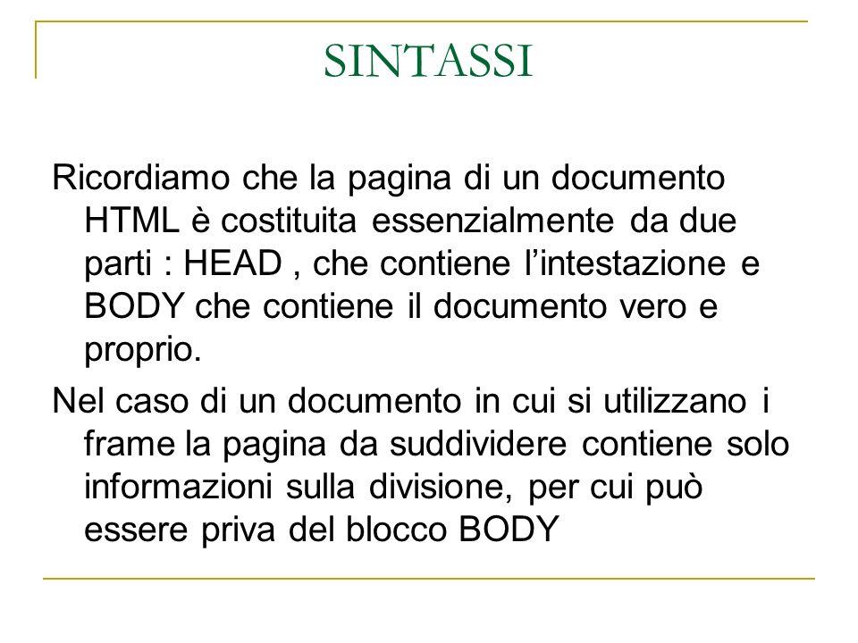 SINTASSI Ricordiamo che la pagina di un documento HTML è costituita essenzialmente da due parti : HEAD, che contiene lintestazione e BODY che contiene il documento vero e proprio.