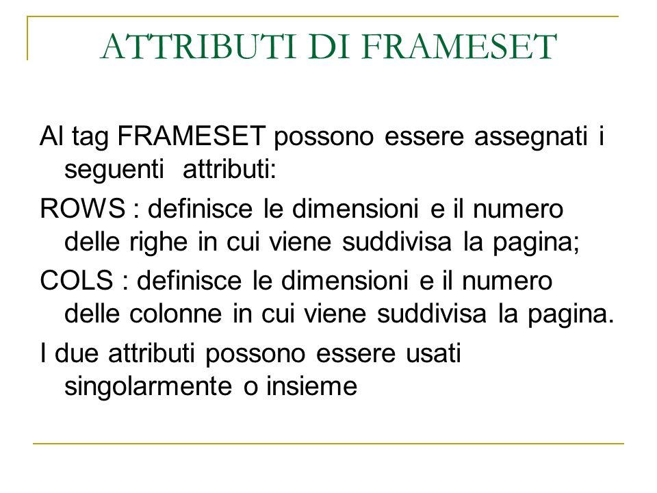 ATTRIBUTI DI FRAMESET Al tag FRAMESET possono essere assegnati i seguenti attributi: ROWS : definisce le dimensioni e il numero delle righe in cui vie