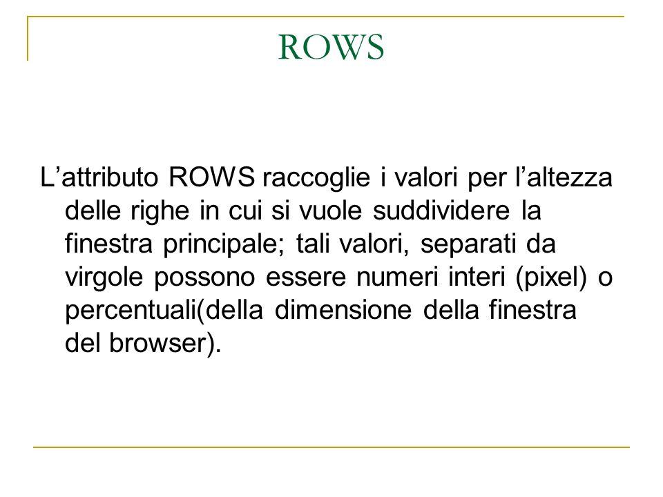 ROWS Lattributo ROWS raccoglie i valori per laltezza delle righe in cui si vuole suddividere la finestra principale; tali valori, separati da virgole possono essere numeri interi (pixel) o percentuali(della dimensione della finestra del browser).