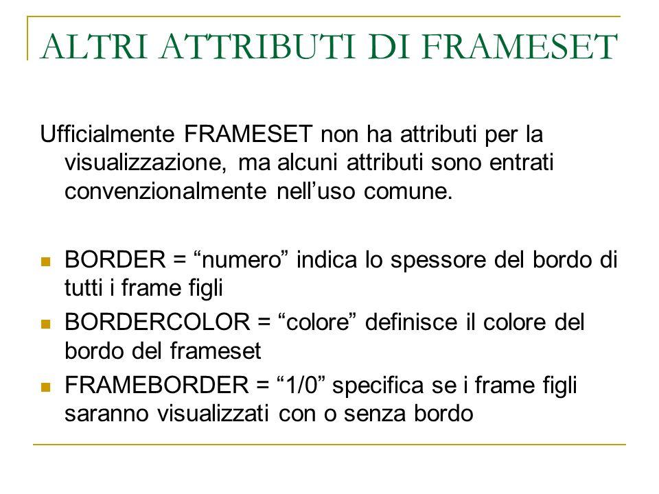 ALTRI ATTRIBUTI DI FRAMESET Ufficialmente FRAMESET non ha attributi per la visualizzazione, ma alcuni attributi sono entrati convenzionalmente nelluso comune.