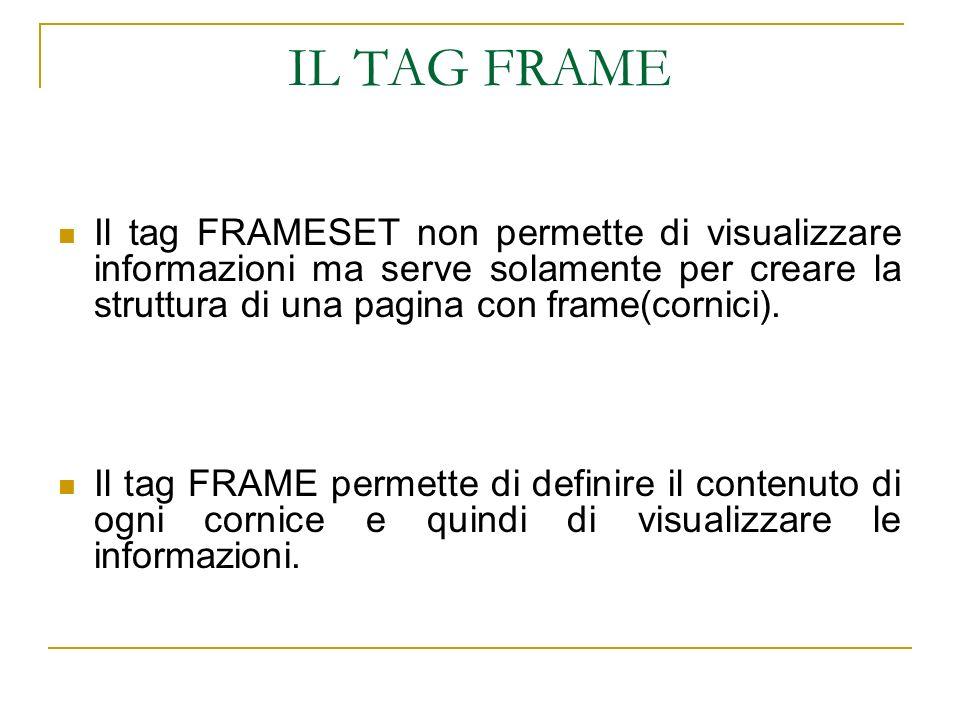 IL TAG FRAME Il tag FRAMESET non permette di visualizzare informazioni ma serve solamente per creare la struttura di una pagina con frame(cornici). Il