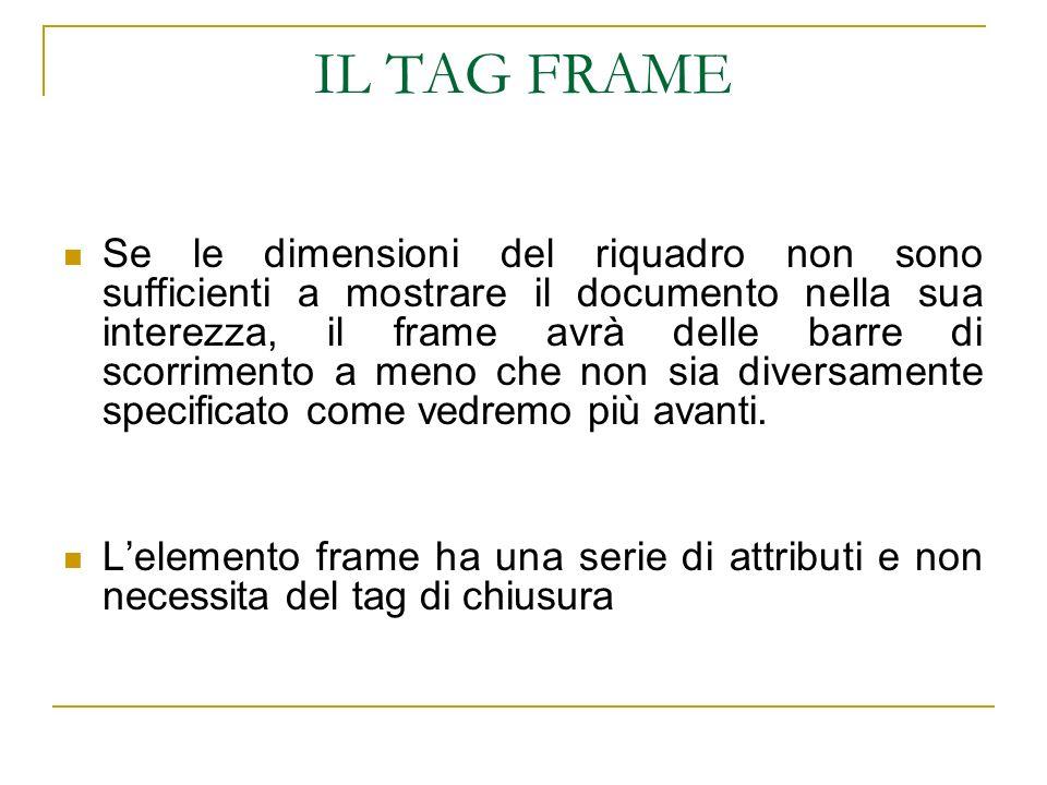 IL TAG FRAME Se le dimensioni del riquadro non sono sufficienti a mostrare il documento nella sua interezza, il frame avrà delle barre di scorrimento a meno che non sia diversamente specificato come vedremo più avanti.