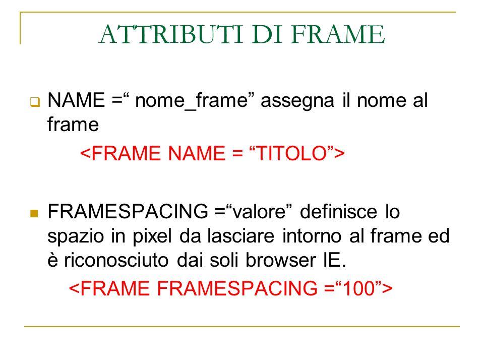 ATTRIBUTI DI FRAME NAME = nome_frame assegna il nome al frame FRAMESPACING =valore definisce lo spazio in pixel da lasciare intorno al frame ed è rico