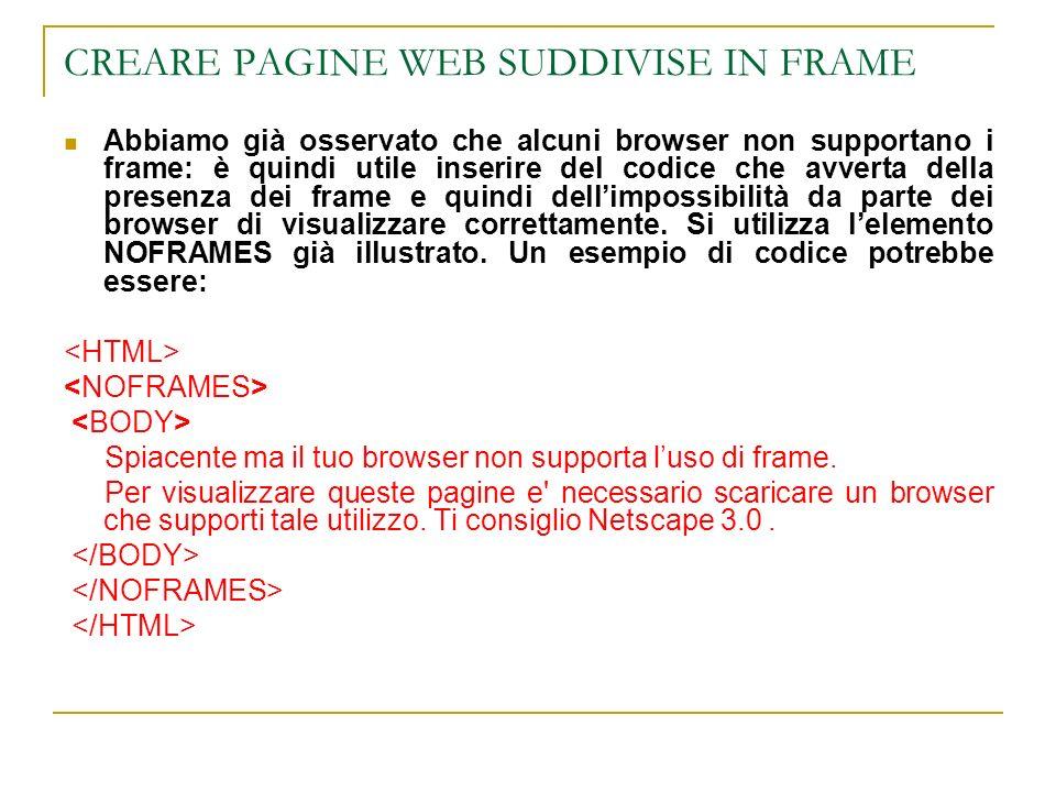 CREARE PAGINE WEB SUDDIVISE IN FRAME Abbiamo già osservato che alcuni browser non supportano i frame: è quindi utile inserire del codice che avverta della presenza dei frame e quindi dellimpossibilità da parte dei browser di visualizzare correttamente.