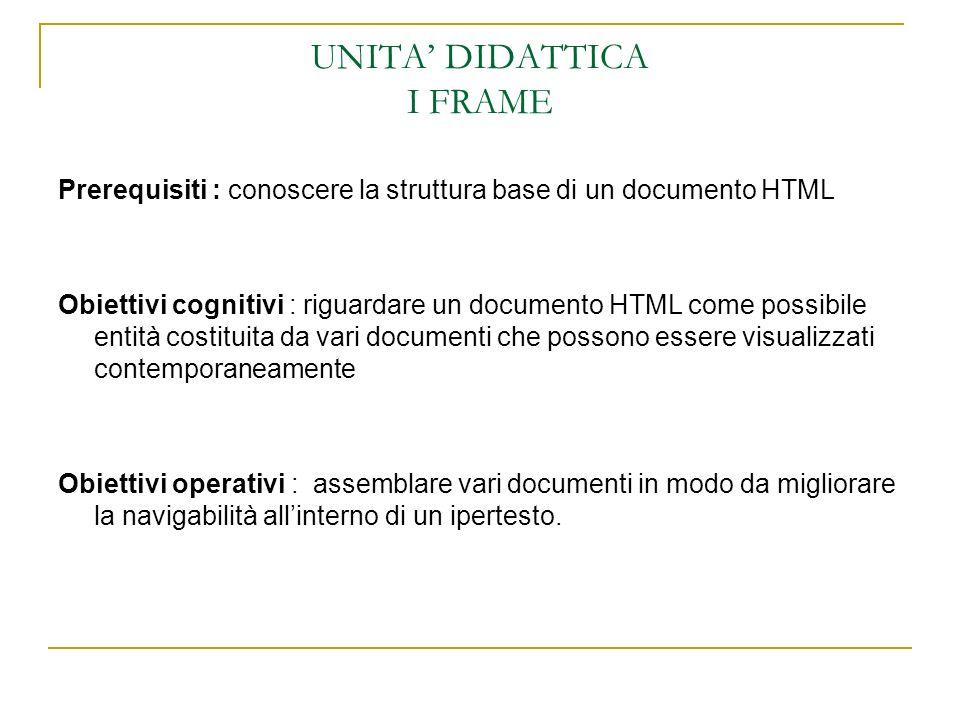 UNITA DIDATTICA I FRAME Prerequisiti : conoscere la struttura base di un documento HTML Obiettivi cognitivi : riguardare un documento HTML come possib