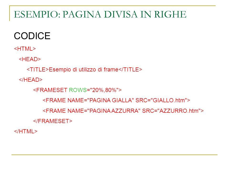ESEMPIO: PAGINA DIVISA IN RIGHE CODICE Esempio di utilizzo di frame