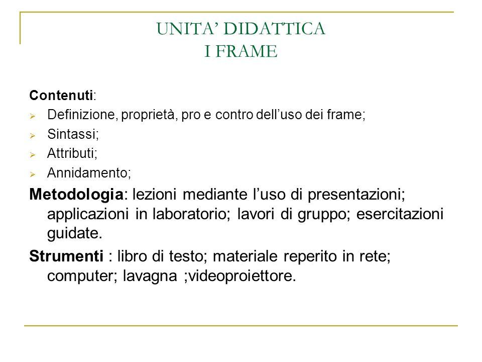 UNITA DIDATTICA I FRAME Contenuti: Definizione, proprietà, pro e contro delluso dei frame; Sintassi; Attributi; Annidamento; Metodologia: lezioni medi