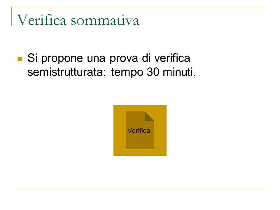 Verifica sommativa Si propone una prova di verifica semistrutturata: tempo 30 minuti. Verifica
