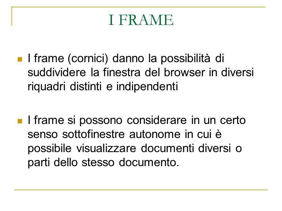 I FRAME I frame (cornici) danno la possibilità di suddividere la finestra del browser in diversi riquadri distinti e indipendenti I frame si possono considerare in un certo senso sottofinestre autonome in cui è possibile visualizzare documenti diversi o parti dello stesso documento.