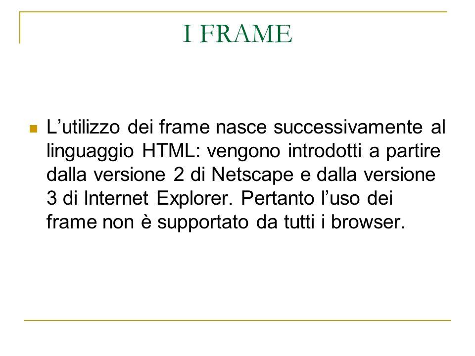 I FRAME Lutilizzo dei frame nasce successivamente al linguaggio HTML: vengono introdotti a partire dalla versione 2 di Netscape e dalla versione 3 di