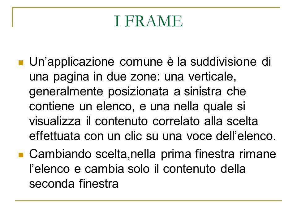 I FRAME Unapplicazione comune è la suddivisione di una pagina in due zone: una verticale, generalmente posizionata a sinistra che contiene un elenco, e una nella quale si visualizza il contenuto correlato alla scelta effettuata con un clic su una voce dellelenco.