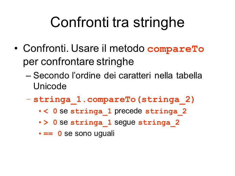 Confronti tra stringhe Confronti. Usare il metodo compareTo per confrontare stringhe –Secondo lordine dei caratteri nella tabella Unicode –stringa_1.c
