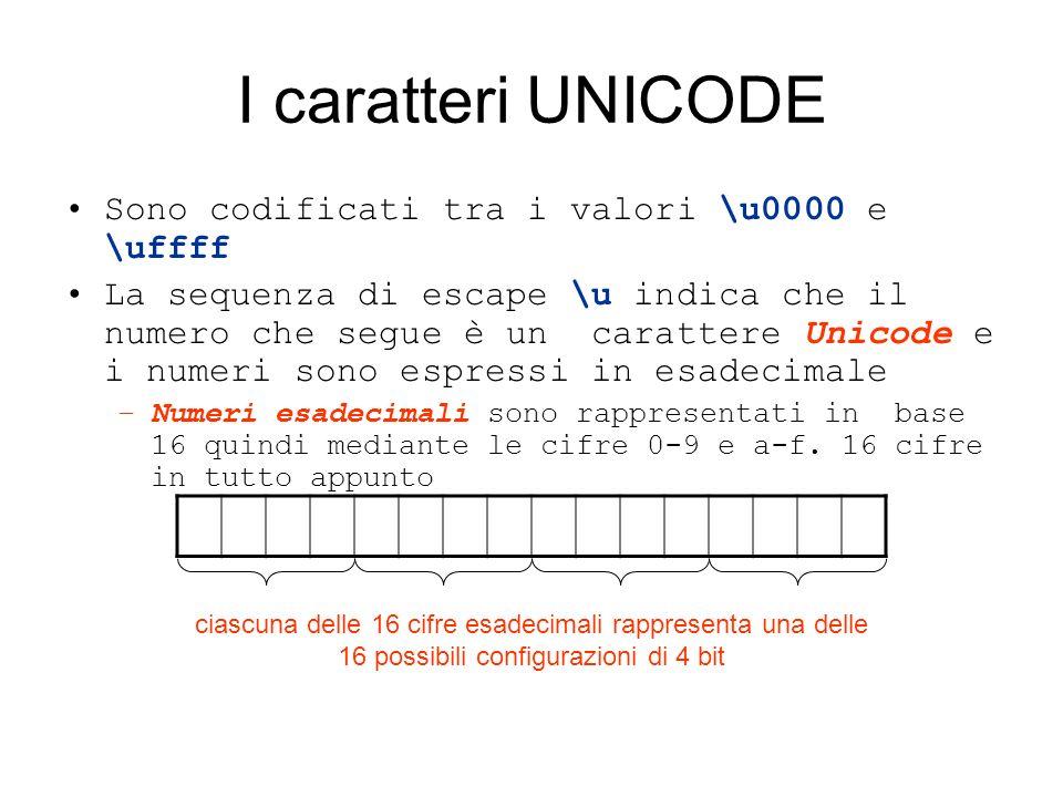 I caratteri UNICODE Sono codificati tra i valori \u0000 e \uffff La sequenza di escape \u indica che il numero che segue è un carattere Unicode e i nu