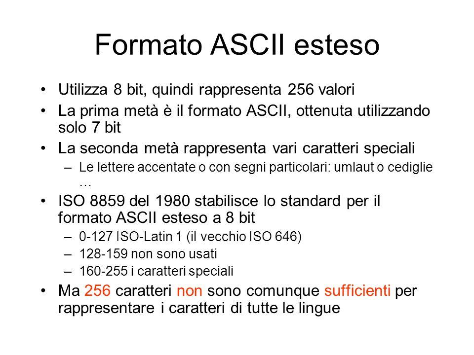 Formato ASCII esteso Utilizza 8 bit, quindi rappresenta 256 valori La prima metà è il formato ASCII, ottenuta utilizzando solo 7 bit La seconda metà r