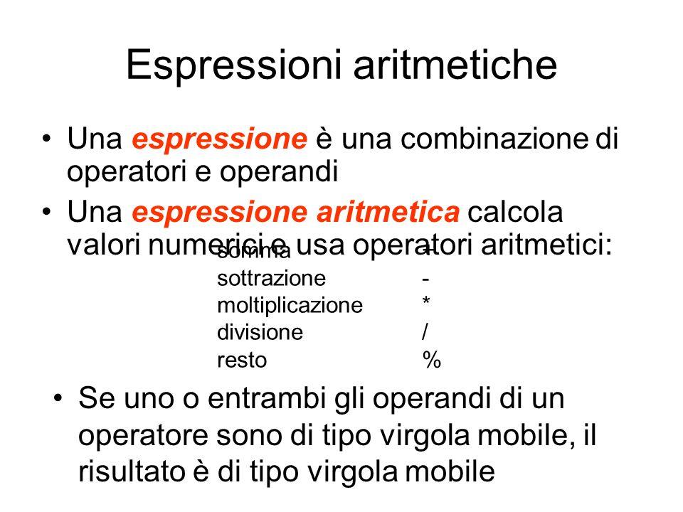 Espressioni aritmetiche Una espressione è una combinazione di operatori e operandi Una espressione aritmetica calcola valori numerici e usa operatori
