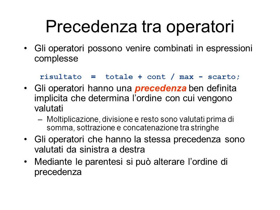 Precedenza tra operatori Gli operatori possono venire combinati in espressioni complesse risultato = totale + cont / max - scarto; Gli operatori hanno