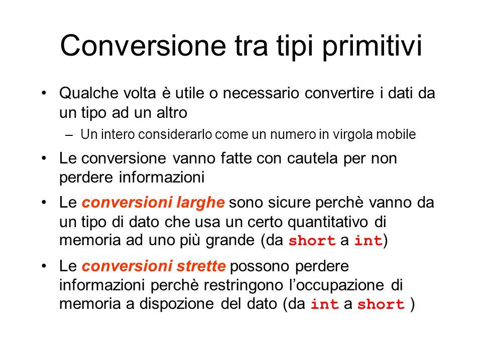 Conversione tra tipi primitivi Qualche volta è utile o necessario convertire i dati da un tipo ad un altro –Un intero considerarlo come un numero in v