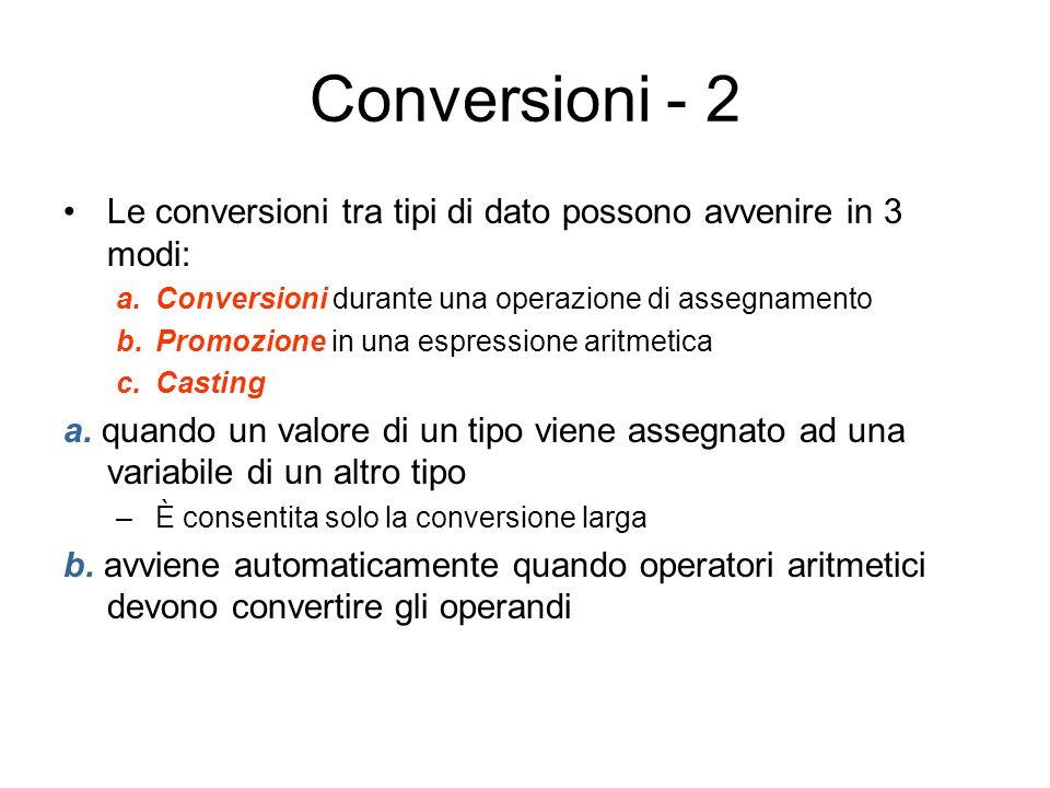 Conversioni - 2 Le conversioni tra tipi di dato possono avvenire in 3 modi: a.Conversioni durante una operazione di assegnamento b.Promozione in una e