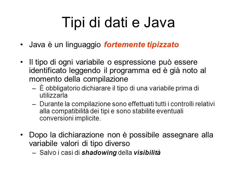 Tipi di dati e Java Java è un linguaggio fortemente tipizzato Il tipo di ogni variabile o espressione può essere identificato leggendo il programma ed