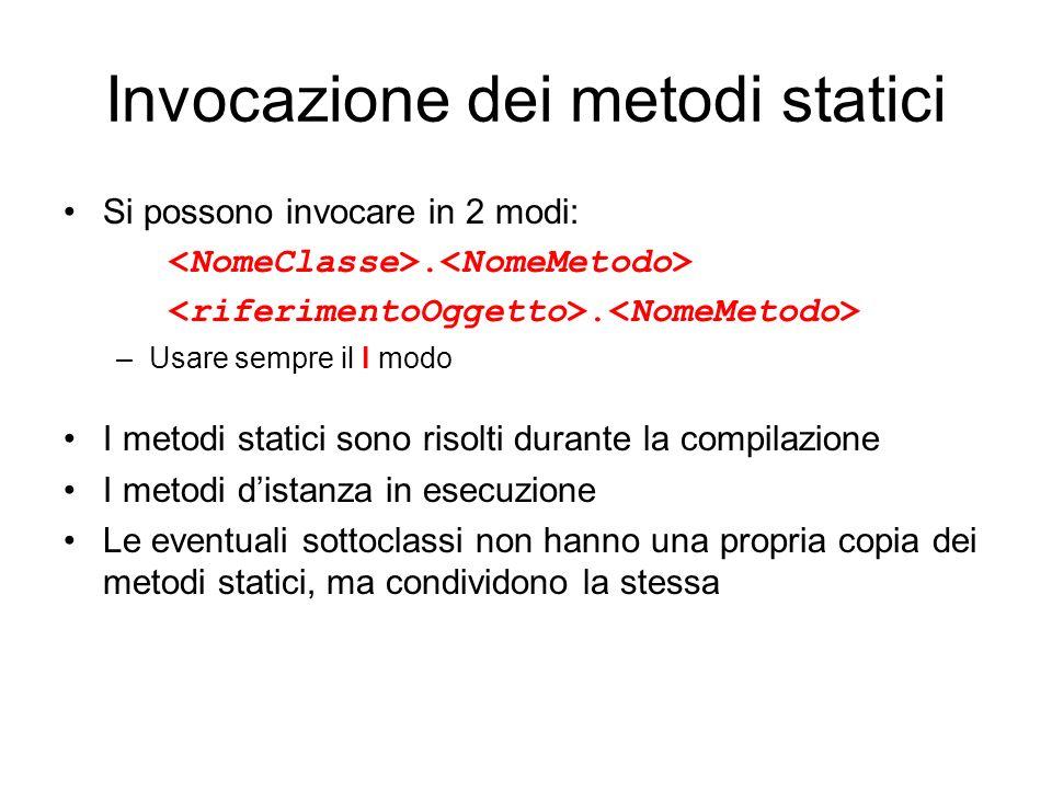 Invocazione dei metodi statici Si possono invocare in 2 modi:. –Usare sempre il I modo I metodi statici sono risolti durante la compilazione I metodi