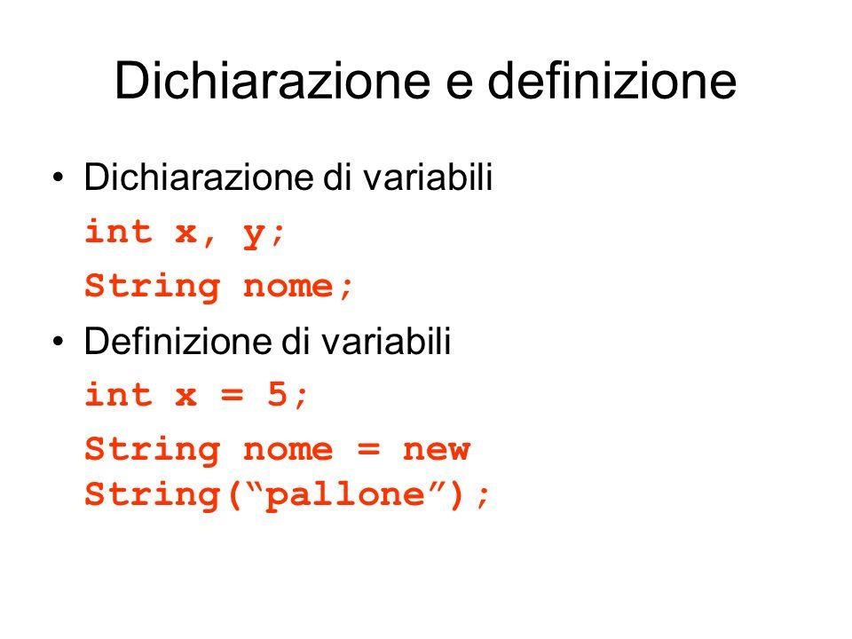 Dichiarazione e definizione Dichiarazione di variabili int x, y; String nome; Definizione di variabili int x = 5; String nome = new String(pallone);