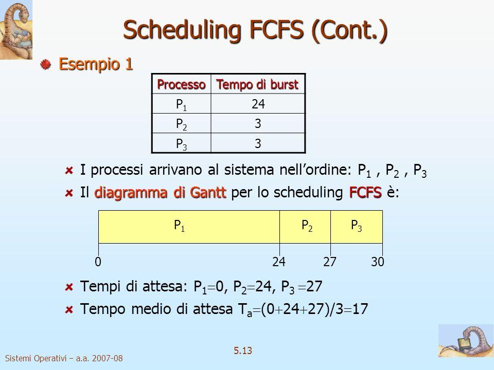Sistemi Operativi a.a. 2007-08 5.13 Scheduling FCFS (Cont.) Esempio 1 I processi arrivano al sistema nellordine: P 1, P 2, P 3 diagramma di GanttFCFS