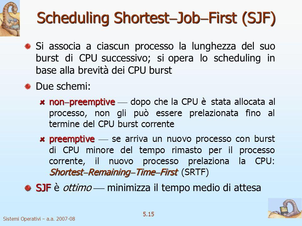 Sistemi Operativi a.a. 2007-08 5.15 Scheduling Shortest Job First (SJF) Si associa a ciascun processo la lunghezza del suo burst di CPU successivo; si