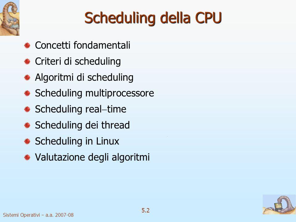 Sistemi Operativi a.a. 2007-08 5.2 Scheduling della CPU Concetti fondamentali Criteri di scheduling Algoritmi di scheduling Scheduling multiprocessore