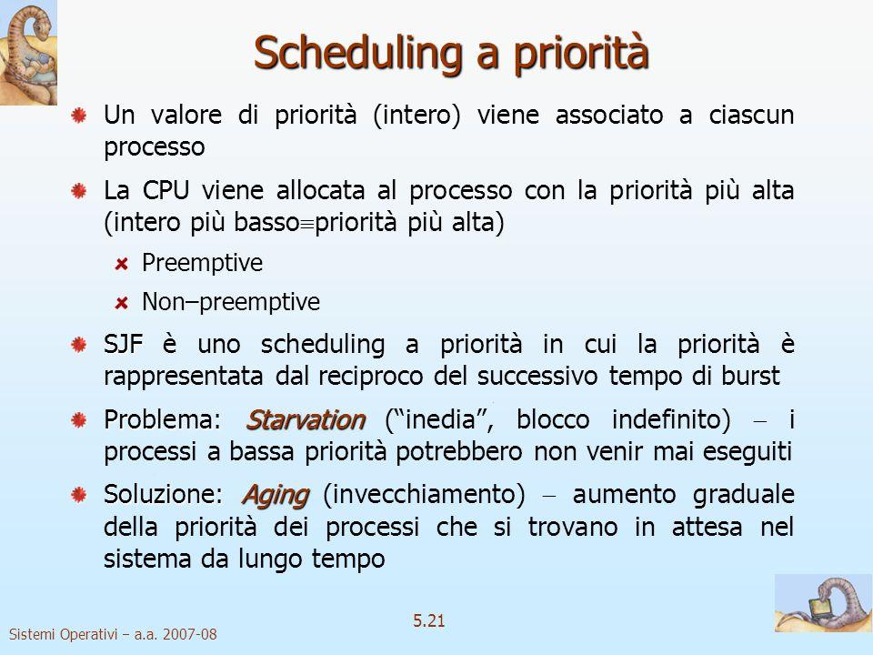 Sistemi Operativi a.a. 2007-08 5.21 Scheduling a priorità Un valore di priorità (intero) viene associato a ciascun processo La CPU viene allocata al p