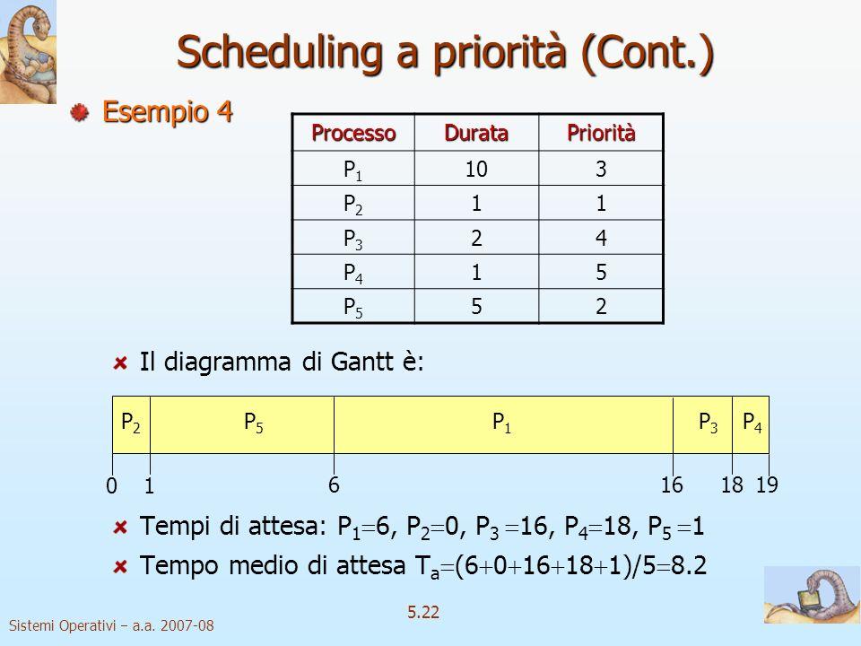 Sistemi Operativi a.a. 2007-08 5.22 Scheduling a priorità (Cont.) Esempio 4 Il diagramma di Gantt è: Tempi di attesa: P 1 6, P 2 0, P 3 16, P 4 18, P