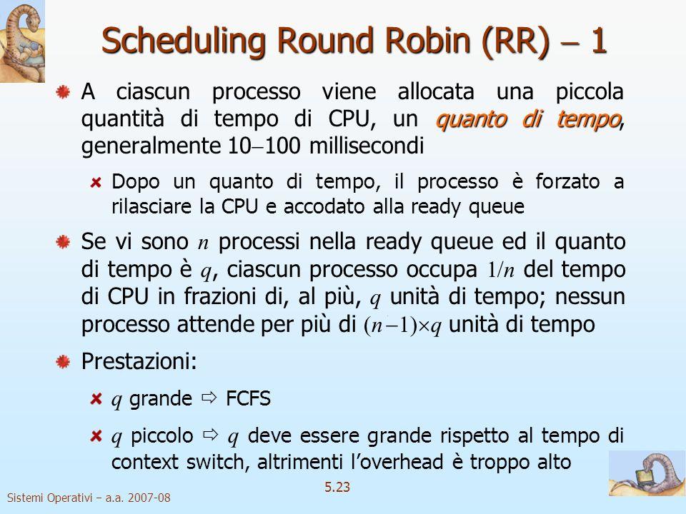 Sistemi Operativi a.a. 2007-08 5.23 Scheduling Round Robin (RR) 1 quanto di tempo A ciascun processo viene allocata una piccola quantità di tempo di C