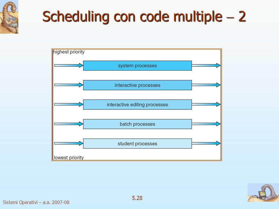 Sistemi Operativi a.a. 2007-08 5.28 Scheduling con code multiple 2