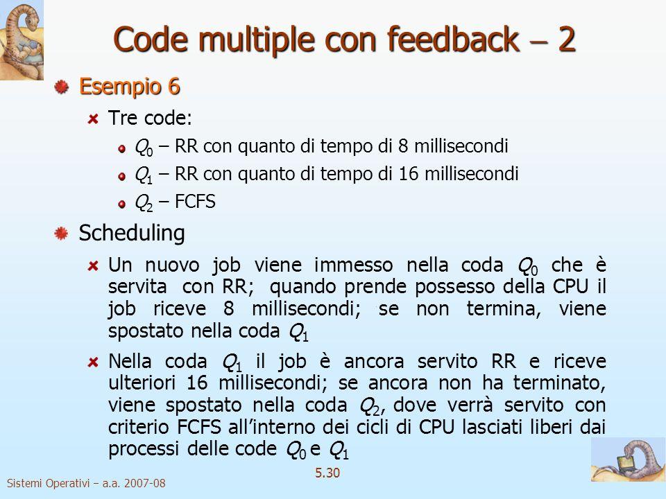 Sistemi Operativi a.a. 2007-08 5.30 Esempio 6 Tre code: Q 0 – RR con quanto di tempo di 8 millisecondi Q 1 – RR con quanto di tempo di 16 millisecondi