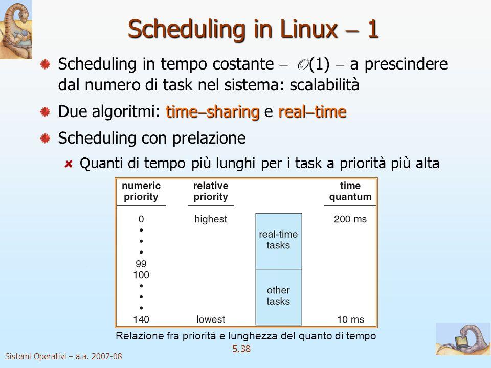 Sistemi Operativi a.a. 2007-08 5.38 Scheduling in Linux 1 Scheduling in tempo costante O (1) a prescindere dal numero di task nel sistema: scalabilità