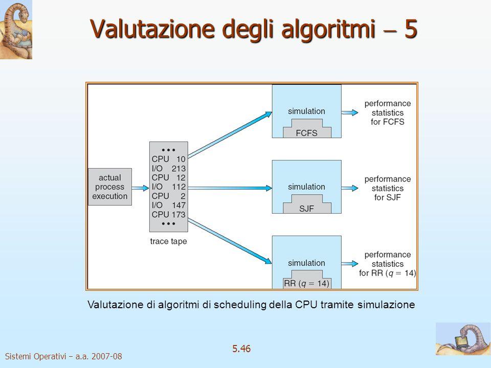 Sistemi Operativi a.a. 2007-08 5.46 Valutazione degli algoritmi 5 Valutazione di algoritmi di scheduling della CPU tramite simulazione