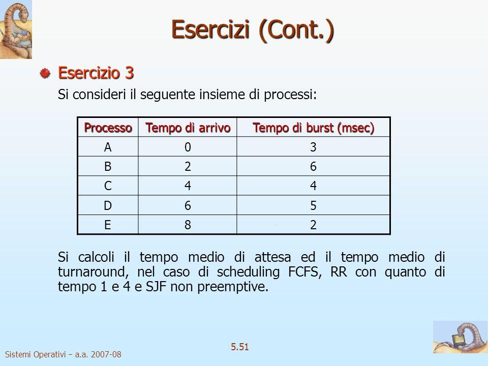Sistemi Operativi a.a. 2007-08 5.51 Esercizi (Cont.) Esercizio 3 Si consideri il seguente insieme di processi: Si calcoli il tempo medio di attesa ed