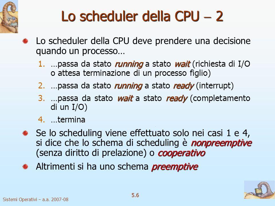 Sistemi Operativi a.a. 2007-08 5.6 Lo scheduler della CPU 2 Lo scheduler della CPU deve prendere una decisione quando un processo… runningwait 1.…pass