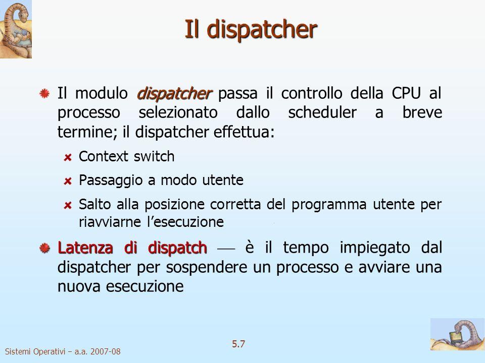 Sistemi Operativi a.a. 2007-08 5.7 Il dispatcher dispatcher Il modulo dispatcher passa il controllo della CPU al processo selezionato dallo scheduler
