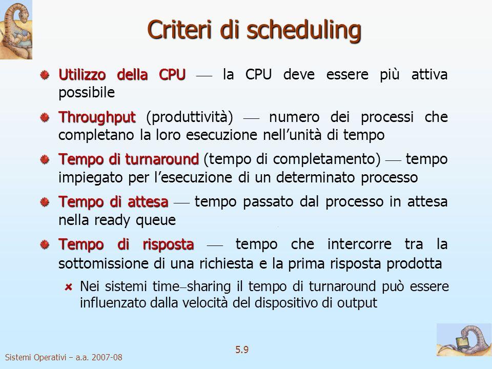 Sistemi Operativi a.a. 2007-08 5.9 Criteri di scheduling Utilizzo della CPU Utilizzo della CPU la CPU deve essere più attiva possibile Throughput Thro