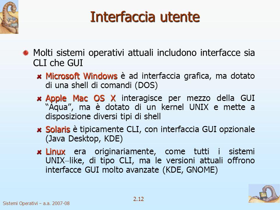 2.12 Sistemi Operativi a.a. 2007-08 Interfaccia utente Molti sistemi operativi attuali includono interfacce sia CLI che GUI Microsoft Windows Microsof