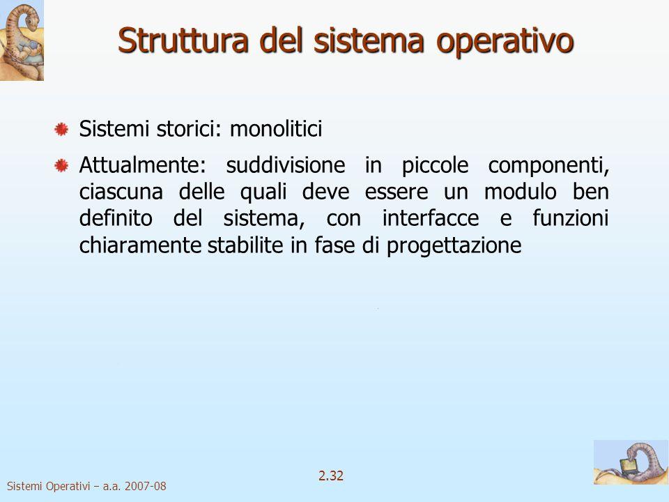 2.32 Sistemi Operativi a.a. 2007-08 Sistemi storici: monolitici Attualmente: suddivisione in piccole componenti, ciascuna delle quali deve essere un m