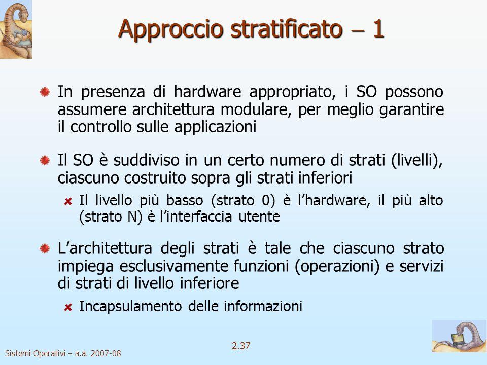 2.37 Sistemi Operativi a.a. 2007-08 Approccio stratificato 1 In presenza di hardware appropriato, i SO possono assumere architettura modulare, per meg