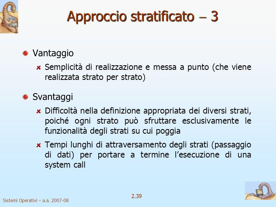 2.39 Sistemi Operativi a.a. 2007-08 Approccio stratificato 3 Vantaggio Semplicità di realizzazione e messa a punto (che viene realizzata strato per st