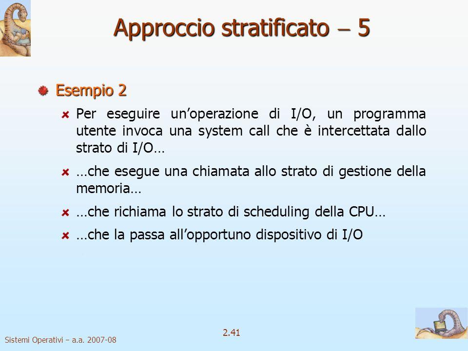 2.41 Sistemi Operativi a.a. 2007-08 Approccio stratificato 5 Esempio 2 Per eseguire unoperazione di I/O, un programma utente invoca una system call ch