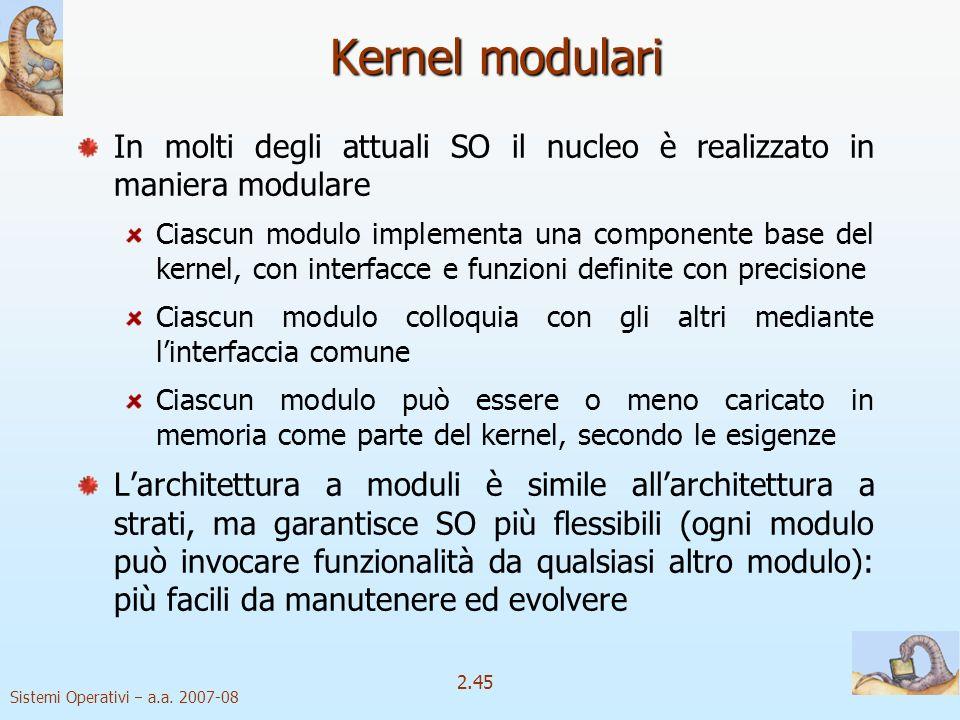 2.45 Sistemi Operativi a.a. 2007-08 Kernel modulari In molti degli attuali SO il nucleo è realizzato in maniera modulare Ciascun modulo implementa una