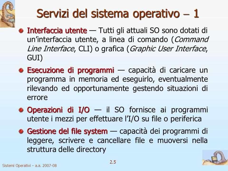 2.5 Sistemi Operativi a.a. 2007-08 Servizi del sistema operativo 1 Interfaccia utente Command Line InterfaceCLIGraphic User Interface GUI Interfaccia