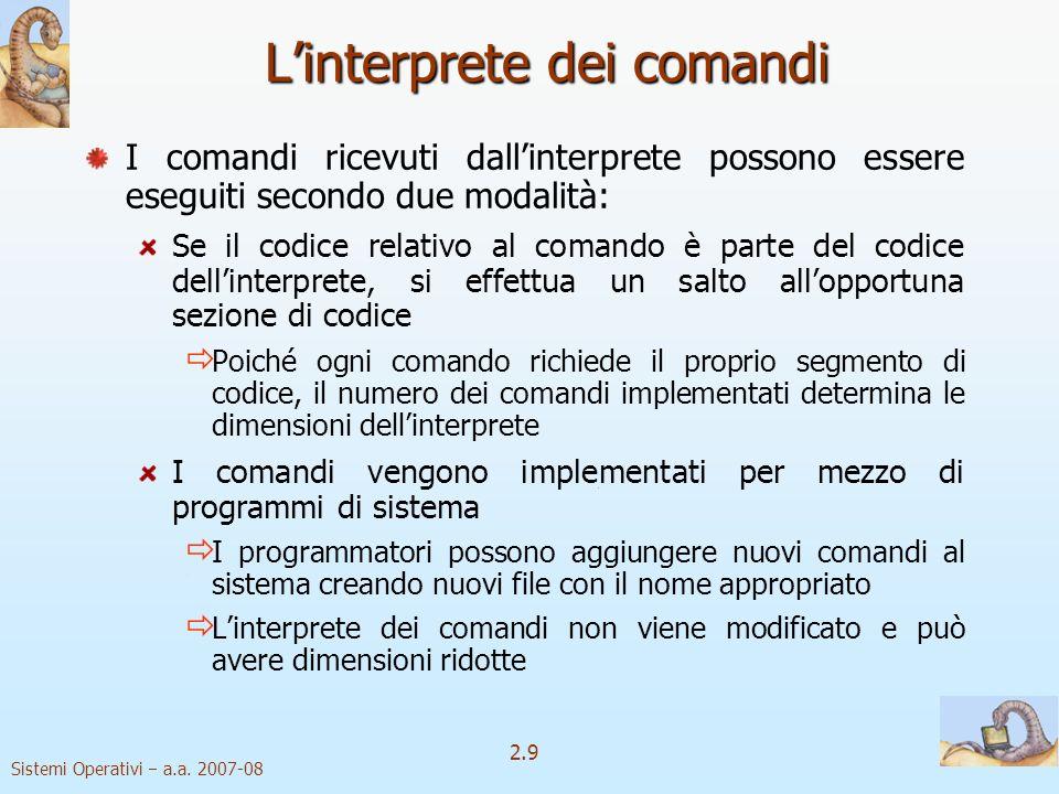 2.9 Sistemi Operativi a.a. 2007-08 Linterprete dei comandi I comandi ricevuti dallinterprete possono essere eseguiti secondo due modalità: Se il codic