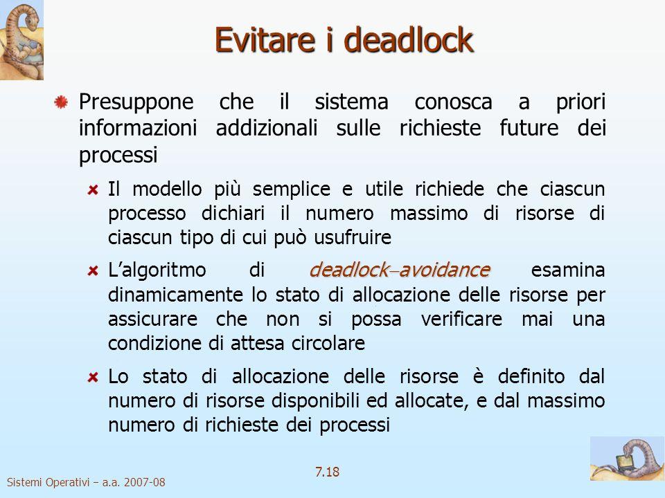 Sistemi Operativi a.a. 2007-08 7.18 Evitare i deadlock Presuppone che il sistema conosca a priori informazioni addizionali sulle richieste future dei